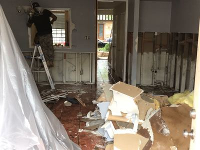 Inside House, Removing Dry Wall