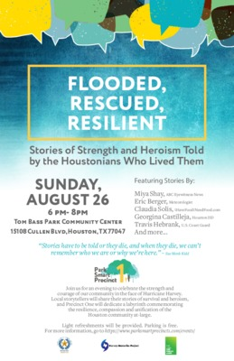 Flooded, Rescued, Resilient: Stories of Strength and Heroism Told by the Houstonians Who Lived Them Flyer