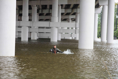 Wading Under The Overpass